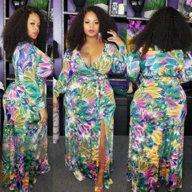 Long Sleeve Digital Printed Deep V-Band Open Size Dress