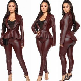 PU Leather Lady Suit