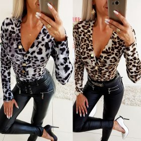 Sexy low-breast printed leopard-print Jumpsuit