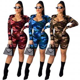 Fashion Camouflage Printing Two-piece Suit