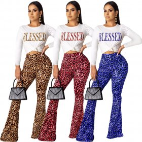 Fashion casual alphabet leopard print long-sleeved bell trousers suit