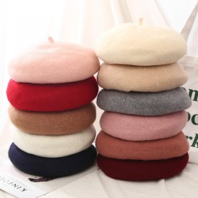 Fashion New Women Wool Solid Color Beret Female Bonnet Caps Winter All Matched Warm Walking Hat Cap