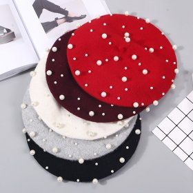 New fashion women's wool pearl hats painter beret brand fashion casual women's autumn and winter warm girls caps touca beanie