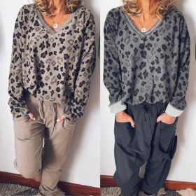 Fashion V-neck Leopard-print Gold Sleeve Women's Top Guard