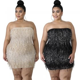 Large-size women's breast-wiping dress fringed pearl slices