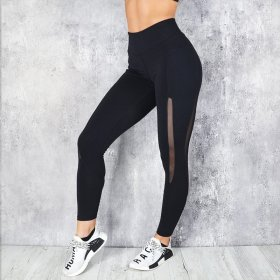 Wet Absorbing and Sweating Yoga Pants Tight Fitness Pants with Mesh Stitching