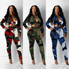 Fashion women's long sleeve chest strap camouflage two-piece suit