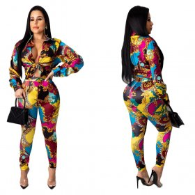 Sexy fashion printing suit
