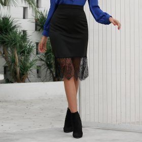 Mid length fishtail skirt skirt with high waist and lace