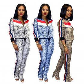 Long sleeve printed jacket sport suit with two pieces of ribbon