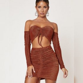 Fashion off shoulder LONG SLEEVE BRA two piece skirt