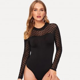 Long sleeve high neck perspective wave dot bottoming BODYSUIT