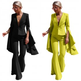 Lapel fashion irregular large swing sleeve flared pants suit
