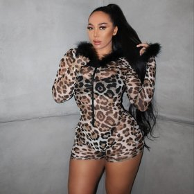 Fashionable leopard print sexy nightclub Jumpsuit