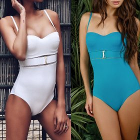 One piece swimsuit with mesh and metal buckle
