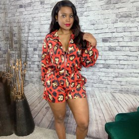 Sexy red leopard shorts autumn suit