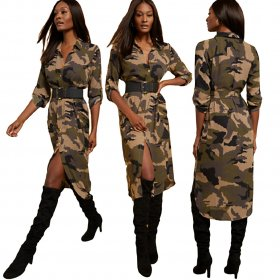 Fashion casual camouflage turn over dress