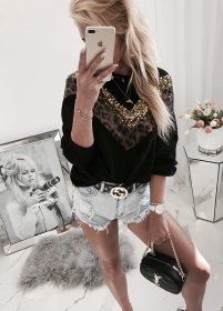 Leopard print Sequin splicing Pullover