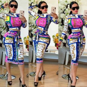 Fashion printed casual two piece suit