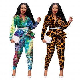 Printed Ruffle casual pants suit