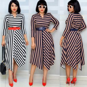 Stripe cross panel dress with waistband