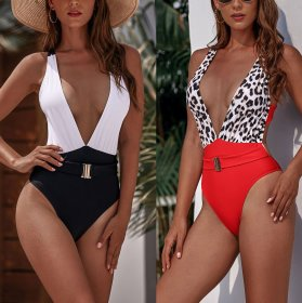 One piece swimsuit color blocking metal belt one piece bikini