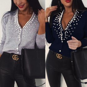 Sexy low chest elegant pearl nail bead short cardigan Plush coat
