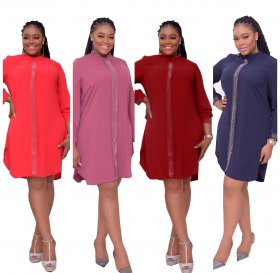 Solid color hot drill panel long sleeve commuter large dress
