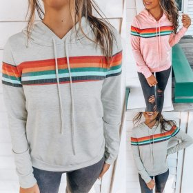 New Casual Loose With Hooded Long Sleeve Tops For Autumn Winter 2019 Women Fashion Stripe Splice Lacing Hoodies Female Tops