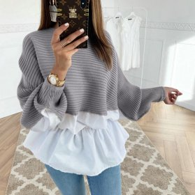 Loose knit wool and four side elastic long sleeve multicolor top