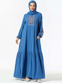 Fashionable large size women's national embroidered pocket with Arabic long skirt (excluding headscarf)