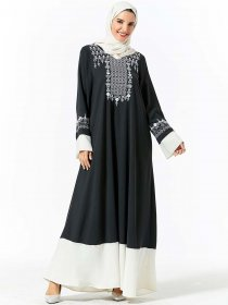 Middle East dress fashion plant embroidered color contrast pocket Arabian dress (excluding headscarf)