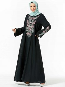 Elegant, comfortable, large women's dress, characteristic, plant embroidered, large arrayed Arabian dress (excluding headscarf)