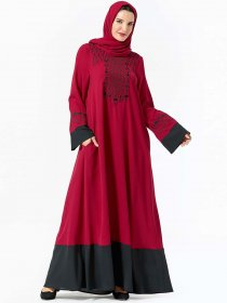 Fashion dress women's embroidered color contrast pocket Muslim long skirt (excluding headscarf)
