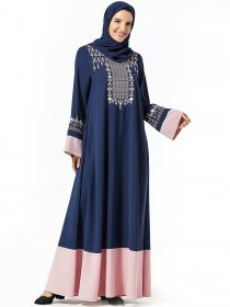 Middle East dress fashion plant embroidered color contrast pocket Muslim long skirt (excluding headscarf)