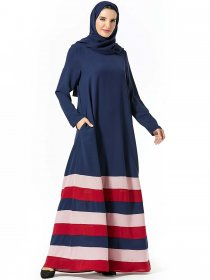 Comfortable large women's patchwork color contrast stripe pocket with large Arabian skirt (excluding headscarf)