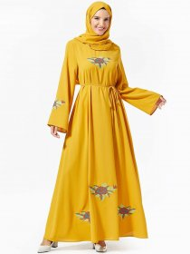 Elegant and comfortable Arabian women's fashion plant embroidered belt large dress (excluding headscarf)