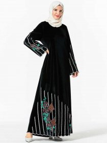 Middle East dress dignified fashion gold velvet plant embroidery Muslim long skirt (excluding headscarf)