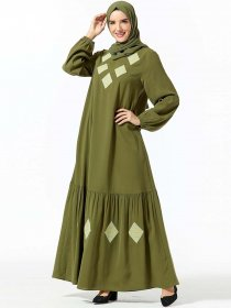 Comfortable Arabic women's geometric embroidered pocket Muslim leisure dress (excluding headscarf)
