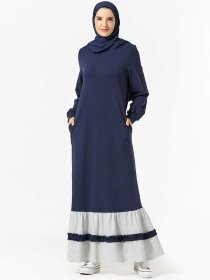 Comfortable Arabian dress with color contrast pocket leisure Muslim dress (excluding headscarf)