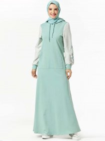 Comfortable sweater hooded pocket plant embroidered Muslim leisure dress (excluding headscarf)