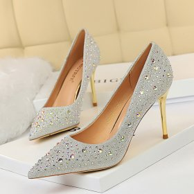 Fashion sexy thin metal heel Stiletto High Heel shallow pointed water drill women's single shoe high heel shoes