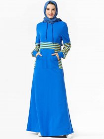 Fashionable and comfortable hooded striped pocket Muslim casual long skirt (excluding headscarf)