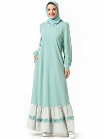 Comfortable Arabian dress, color contrast pocket, casual dress with large swing (excluding headscarf)
