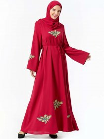 Comfortable large women's fashion plant embroidered belt casual large dress (excluding headscarf)