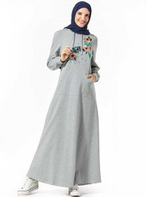 Fashionable and comfortable hooded pocket plant embroidered Arab dress (excluding headscarf)