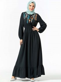 Fashionable and dignified bowknot, plant embroidery, elastic waist and large swing Muslim long skirt (excluding headscarf)