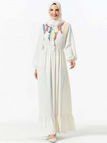 Middle East large women's fashion plant embroidery elastic waist casual dress (excluding headscarf)