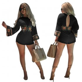 Round Neck Lace cut long sleeve sexy open back embroidery one piece shorts