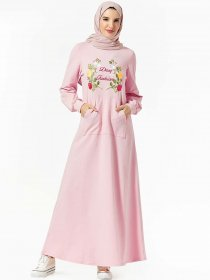 Middle East fashion hooded pocket plant embroidered dress casual long skirt (excluding headscarf)